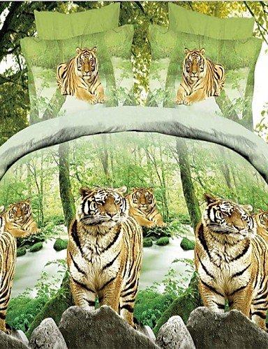 GAOHAIFQ®, vierteilige Anzug, verisimilar 3D-Tiger gedruckte Tröster Bettwäsche-Sets Blinddruck vier Stücke Quilt Bettbezug Bettlaken Kissenbezug (Set Tröster Tiger)