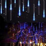 LEDs Meteorschauer Regen Lichter, SUAVER Wasserdichte Solar-Regentropfen-Lichter Garten-dekorative Schnur-Lichter mit 30cm 10 Tube 360LEDs, kaskadierende Lichter für Feiertags-Party-Hochzeits-Weihnachtsbaum-Patio-Dekoration (Blau)