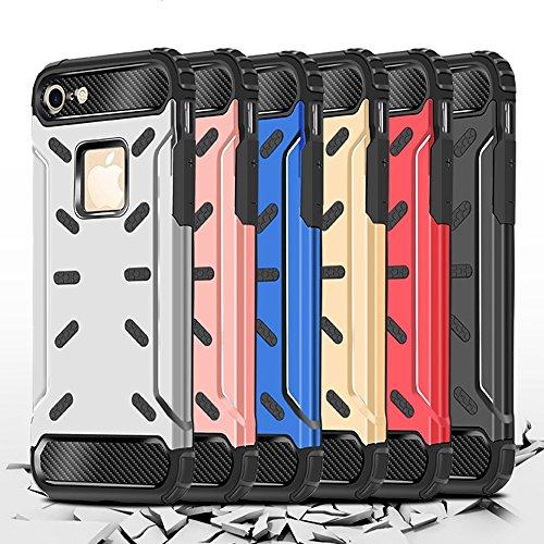 """iPhone 6S Plus Housse , SHANGRUN Hybrid Defender Aluminium Métal + Fibres de Carbone Resilient Souple TPU Antichoc Case Etui Housse pour iPhone 6 Plus / 6S Plus 5.5"""" Argent Rouge"""