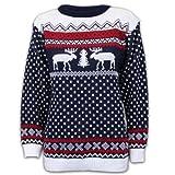 Pullover Damen Herren Weihnachten Strickpullover mit Rentier Retro Sweater MFDEER - Marineblau - Weiß, M