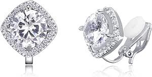 Quke - Orecchini a clip con cristallo di zircone, gioielli da donna per lobi non forati
