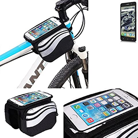 For Alcatel Pixi 4 (6 Zoll) 4G 16 GB: Cycling Frame Bag, Head Tube Bag, Front Top Tube Frame Pannier Double Bag Pouch Holder Crossbar Bag, black-silver water resistant -
