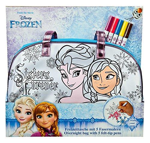 Undercover FRZH2470 - Freizeittasche zum Bemalen, Disney Frozen inklusive 5 Fasermalern