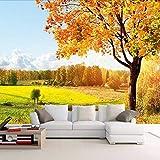 Lsfhb Carta Da Parati Fotografica 3D Personalizzata Golden Autumn Tree Natura Paesaggio Fotografia Sfondo Muro Decorazioni Murali Carta Da Parati Per Soggiorno-150X120Cm