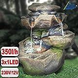 Amur GARTENBRUNNEN BRUNNEN 230V ZIERBRUNNEN VOGELBAD WASSERFALL GARTENLEUCHTE TEICHPUMPE - SPRINGBRUNNEN WASSERSPIEL für Garten, Gartenteich, Terrasse, Teich (STEIN-KASKADE SCHWARZWALD mit LED-Licht)