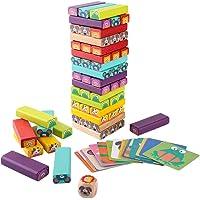 Jeu Enfant en Bois Puzzle Jeux de Société Empilables Blocs de Construction Avec Cartes avec Dessins pour Parents Enfants…