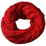 Miobo Zopfmuster Stricken Loopschal Wolle warmen Winter Dicke Schal Schleife Kreis Schal Gestrickte Rundschal Schlauchschal (Rot)