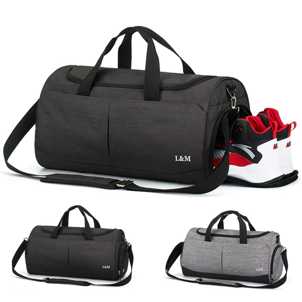 Black Travel Duffel Bag Gym Holdall Bag for Men and Women Sports Gym Bag with Shoes Compartment and Wet Pocket