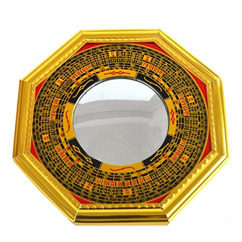Feng-Shui-Bagua-Spiegel, Pakua W, konvex, mit rotem Mxsabrina-Armband, (J2323)