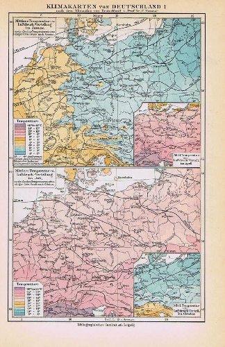 Klimakarten von Deutschland. Historische alte Landkarte (Sammlerstück) von 1925.