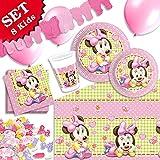 Minnie Mouse Baby, rosa Kindergeburtstag-Deko Set , 57 teilig zum Kindergeburtstag kleine Mädchen, auch prima für Geburt der kleinen Tocher oder Pullerparty sowie Kinder-Motto Party für die Tochter, 8 Kids