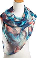 Ziory Blue 1 Pc fashion leaves printing long georgette silk scarf for Girls and Women
