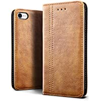SLEO iPhone 8 Case ,iPhone 7 Case, SLEO Luxury Retro Wallet Leather Case,[Slim Fit] Soft Tactile Elegant Case Cover with Embedded Magnetic Closure for iPhone 8 / 7 (Brown)