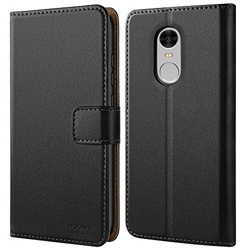 HOOMIL Xiaomi Redmi Note 4 Hülle, Handyhülle Redmi Note 4 Tasche Leder Flip Case Brieftasche Etui Schutzhülle für Xiaomi Redmi Note 4 Cover - Schwarz (H3191)