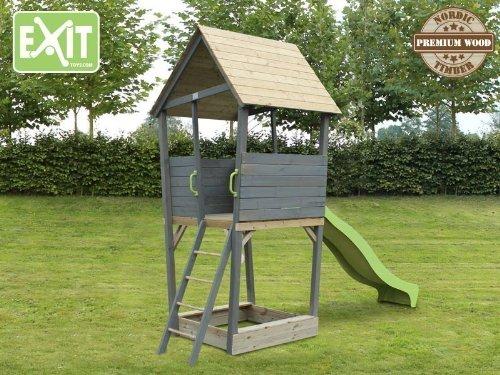 EXIT Aksent Spielturm / mit Aussichtsplattform, Sandkasten, Rutsche + Leiter / Material: Nordische Fichte / Maße: 323x152x297 cm / 88 kg