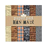 """Craftwork Cards """"Man Made"""" Patterned Paper Pad, Brown, 8 x 8-Inch"""