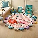 VClife Teppich Kinderteppich Baumwolle Spielteppich Yoga Schlafzimmer Wohnzimmer Sofa Boden Studiozimmer Dekoartikel Baby Krabbeldecke Geschenk Gesteppt Durchmesser von 150cm Elefant Hase
