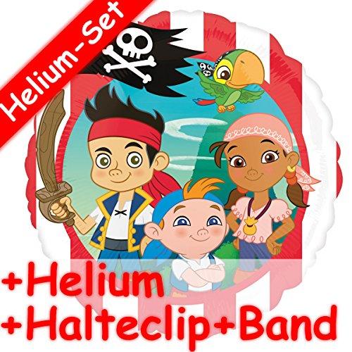 Folienballon Set * JAKE & NEVERLAND PIRATES + HELIUM FÜLLUNG + HALTE CLIP + BAND * für Kindergeburtstag und Motto-Party // Kinder Geburtstag Folien Ballon Helium Deko Ballongas Motto Disney - Izzy Die Neverland Jake Und