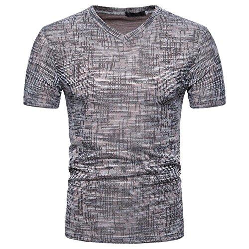 Oversize Vintage Herren T-Shirt Patchwork Streifen Kurzarm Blouse Herren Slim Fit Baumwolle V-Ausschnitt Coole Strassenbande Pullover Trainings Sport Sweatshirt (XL, Kaffee)