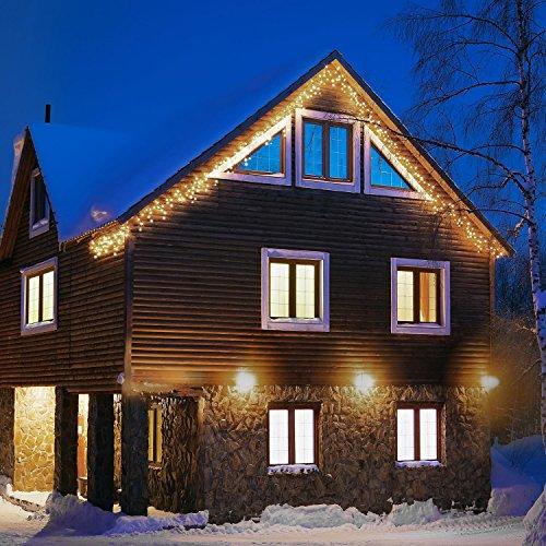 Blumfeldt dreamhouse luci illuminazione natalizia (catena luminosa da 8 metri, 160 led, cavo da 6 metri, effetto flash motion, ip44, per interni ed esterni) - bianco caldo