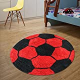#1: The Home Talk Kids bath mat/floor rug, Football design, 100% cotton, 60 CM round, anti-skid backing, Red & Black