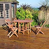 forestfox Hardwood Garden Furniture Folding Table. 5 Piece Set. Rectangular. Patio Dining