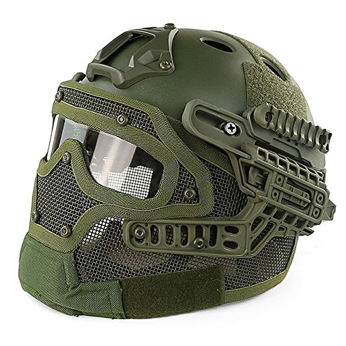 zantec spezielle Outdoor Tactical Helm Praktische Softair Paintball Tactical Full Face Maske mit Goggle, armee-grün (Paintball Maske Full Head)