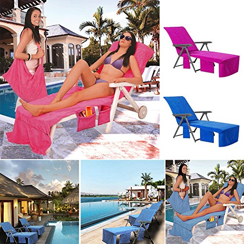 Beach Lounge Chair Towel, Lounge Chair Beach Towel Cover Microfiber Pool Lounge Chair Cover with Pockets for Holidays Sunbathing, Lounge Chair Seat Cover(Blue)