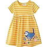 Vestido de manga corta para niña de algodón con cuello redondo y rayas