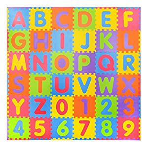 Assemblemat®™-36 Stück Soft Numbers und Alphabet Spielmatten mit Kanten -...