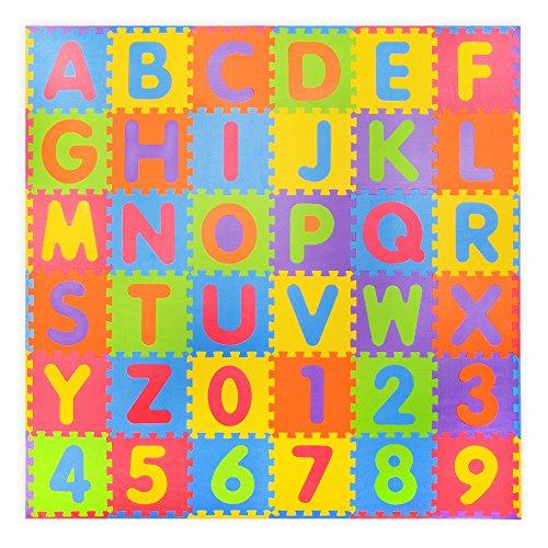 36 piezas Números suaves y Alfabeto Alfombras de juego con bordes - Alfombrilla de espuma para niños - Puzzle de actividad Alfombrillas de juego - Protección de piso - Números de goma espuma EVA Alfombrillas Mat - 0-9 y Alfabeto A-Z = 36 Azulejos en total en la bolsa de transporte.