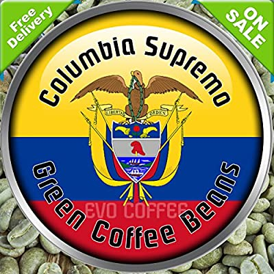 Columbia Supremo Arabica Green Raw Coffee Beans Home Roasting 1kg by Evocoffee