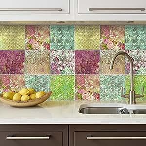 Autocollant carrelage d coratif floral dessin pour cuisine for Carrelage decoratif cuisine