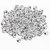 Hrph 100pcs 25MM Klar facettierte Glaskristall Diamante Strass Silber Buttons