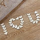 WINOMO 100 Stück Deko Herz Streudeko Hochzeitsdekoration Konfetti Herz aus Holz - 2