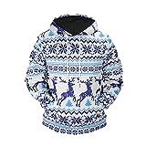 Weihnachten Kapuzenpullover Herren Winter gedruckt Sweatshirt Neuheit Ugly Oberteile Weihnachtsbaum Jumper Shirt Xmas Sweater (Blau,EU 44/CN M)