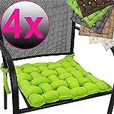 PROHEIM 4er Set Stuhlkissen Provence 40 x 40 cm Premium Flechtkissen mit Halterungs-Bändern...