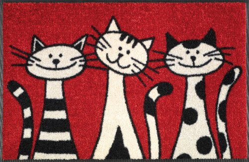 WASH+DRY - ALFOMBRA THREE CATS 50X75  ROJO