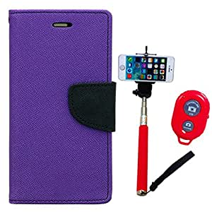 Aart Fancy Diary Card Wallet Flip Case Back Cover For Samsung E5 - (Purple) + Remote Aux Wired Fashionable Selfie Stick Compatible for all Mobiles Phones By Aart Store