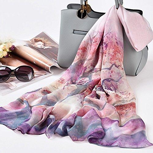 Feifei Schal Frau Mulberry Silk Printing Schal 110x175CM (Farbe : 05) -
