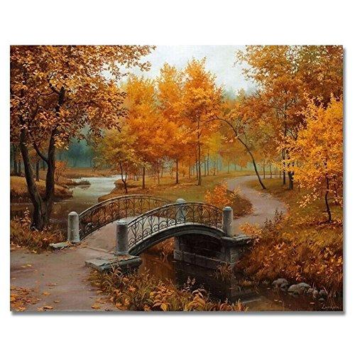 """Rihe - dipinto a olio fai da te """"dipingi coi numeri"""", con telaio in legno, tema 'ponte sul fiume e alberi', stampa su tela da parete, decorazione artistica per la casa"""