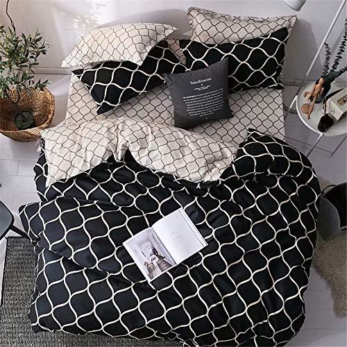 Bettwäsche Set 2 Teilig , Odot 100% Mikrofaser Mode Einfach Nordisch Druck Weiche mit Reißverschluss Schließung Bettbezug Garnitur und Kissenbezug (135x200cm-2pcs,Schwarz) -