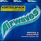 Wrigley Airwaves Menthol und Eukalyptus Multipack, 1er Pack (Dragees 3x10)