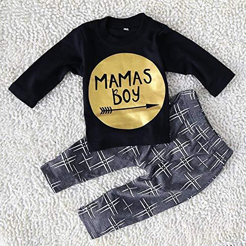 Mamas Boy Clothing Set di 2 pezzi con camicia maniche lunghe nero e pantaloni grigi per bambino da 3 6 mesi taglia 70 Baby boy vestiti neonati bambino