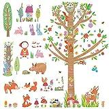 Decowall DM-1601P1603 Caperucita Roja y el Grande Árbol en el Bosque Vinilo Pegatinas Decorativas Adhesiva Pared Dormitorio Salón Guardería Habitación Infantiles Niños Bebés