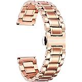 BINLUN Klockarmband i rostfritt stål Ersättningsurremmar med raka och böjda ändar Dam & herr 6 färger (guld, sliver, svart, r