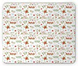 Floral Mouse Pad, Blooming Bunches of Leafy Wildflowers in Soft Colors Delicate Spring Flora Theme, Standard Size Rectangle Non-Slip Rubber Mousepad, Multicolor