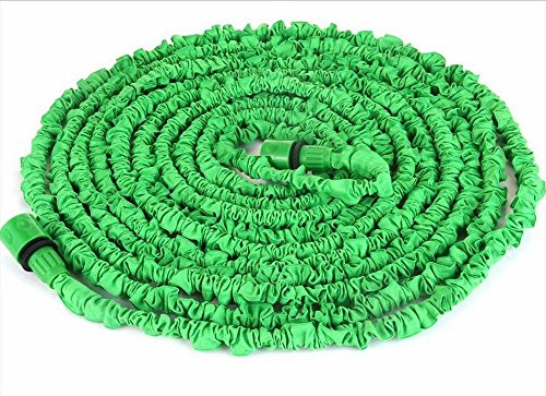 Expandable Garden Water Hose Pipe- Liwiner 100FT 3 Times Expanding Flexible Magic Lightweight Hose Pipes Reel With 7 Prayer Gun For Washing Car/ Watering Flower/s Vegetables/ Cleaning Windows/ Floor (Green)