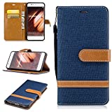 BoxTii Coque Huawei P10 [avec Gratuit Protection D'écran en Verre Trempé], Housse avec Magnétique et Porte-Cartes pour Huawei P10 (#6 Bleu)