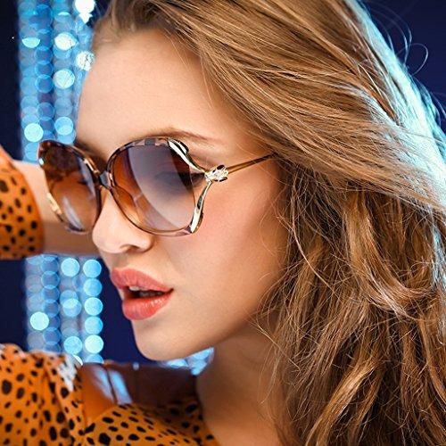 Brilliant firm Frau Leopard polarisierte Fahren Sonnenbrille große Rahmen Hohl Strass Sonnenbrille (Color : Brown)